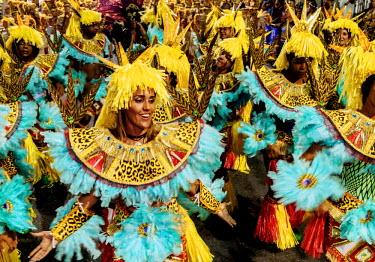 BRA3377AW Brazil, State of Rio de Janeiro, City of Rio de Janeiro, Samba Dancer in the Carnival Parade.
