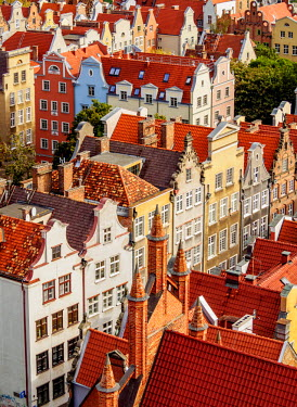 POL1695AW Poland, Pomeranian Voivodeship, Gdansk, Elevated view of the Old Town.