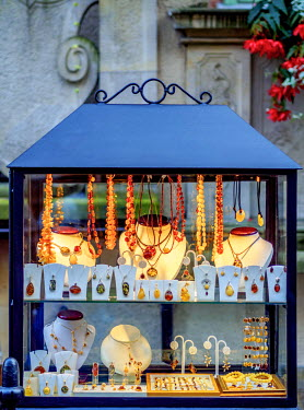 POL1745AW Poland, Pomeranian Voivodeship, Gdansk, Old Town, Amber Jewellery display on Mariacka Street
