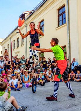 POL1782AW Poland, Lublin Voivodeship, City of Lublin, Cultural Center Square, The Magicians' Carnival, Igrachka Plachko Circus Troupe Performance