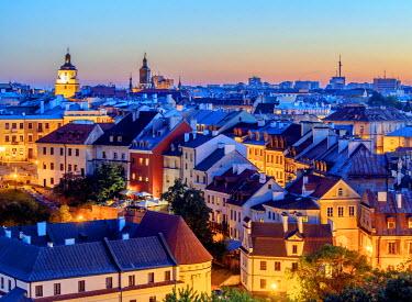 POL1820AW Poland, Lublin Voivodeship, City of Lublin, Old Town Skyline at twilight