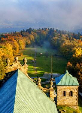 POL1873AW Poland, Swietokrzyskie Voivodeship, Swietokrzyskie Mountains, Lysa Gora, Holy Cross Benedictine Monastery
