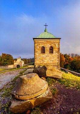 POL1874AW Poland, Swietokrzyskie Voivodeship, Swietokrzyskie Mountains, Lysa Gora, Holy Cross Benedictine Monastery