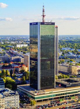 POL1880AW Poland, Masovian Voivodeship, Warsaw, City Center, Elevated view towards Centrum LIM Skyscraper