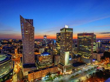POL1892AW Poland, Masovian Voivodeship, Warsaw City Center Skyscrapers at twilight