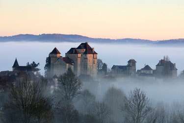 FRA9564AW Curemonte in the mist, Correze, Nouvelle-Aquitaine, France