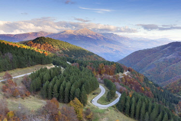 ITA10134AW A winding road in the Monti Sibillini National Park, Umbria, Italy