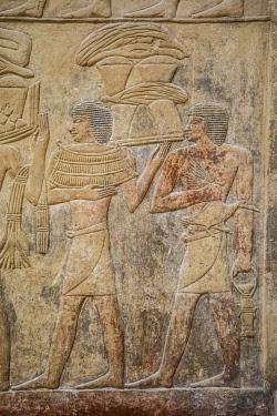 EG01393 Hyroglyphs in the Mastaba (tomb) of Kagemni (c. 2321-2290 B.C.) by the Pyramid of Teti, Saqqara, Nr Cairo, Egypt