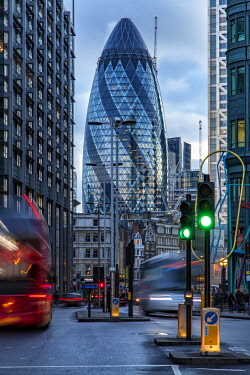 ENG14322 30 St Mary Axe (also known as The Gherkin) is a commercial skyscraper in London's primary financial district, the City of London, England