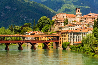 CLKAB41071 Bassano, Province of Vicenza, Veneto, Italy. Historic wooden bridge over Brenta River.