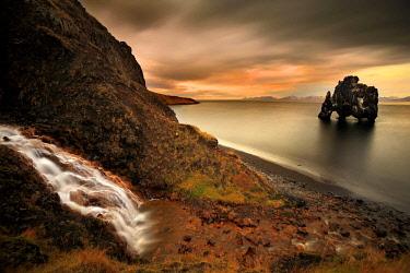 CLKFR54426 Hvitserkur rock, Skagaströnd, village, north Iceland