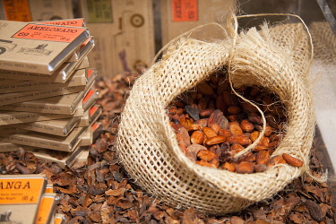 BEL1531 Belgium. Flanders. Bruges. Chocolate beans on display at a chocolate shop.
