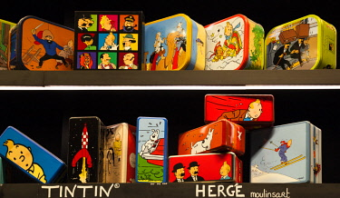 BEL1562 Belgium. Flanders. Bruges. Tins painted with characters form the iconic Belgian comic character Tintin created by Herge.
