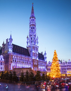BEL1568 Belgium. Brussels Capital Region. Brussels. Light show at the Grand Place.