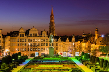 BEL1593AW City center skyline from Mont Des Arts, Brussels, Belgium