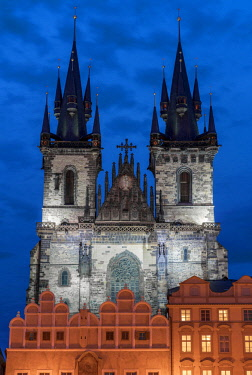CZE1749AW Europe, Czech Republic, Prague, Old Town Square, Church of Our Lady Before Tyn