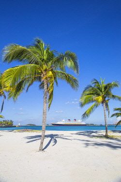 BA01355 Caribbean, Bahamas, Providence Island, Nassau, Palm trees on white sand beach, with cruise ship in distance