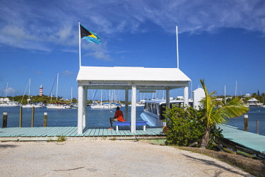 BA01245 Bahamas, Abaco Islands, Elbow Cay, Hope Town, Hope Town Island Lodge Hotel ferry dock