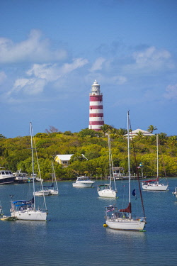 BA01181 Bahamas, Abaco Islands, Elbow Cay, Hope Town, Elbow Reef Lighthouse - The last kerosene burning manned lighthouse in the world - built by the The British Imperial Lighthouse Service during the 1860's