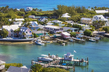 BA01204 Bahamas, Abaco Islands, Elbow Cay, Hope Town, View of Harbour