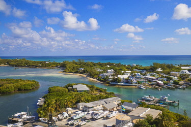 BA01206 Bahamas, Abaco Islands, Elbow Cay, Hope Town, View of Harbour