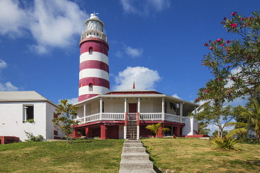 BA01207 Bahamas, Abaco Islands, Elbow Cay, Hope Town, Elbow Reef Lighthouse - The last kerosene burning manned lighthouse in the world - built by the The British Imperial Lighthouse Service during the 1860's