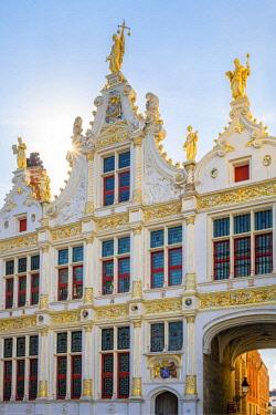 BEL1680AW Belgium, West Flanders (Vlaanderen), Bruges (Brugge). Neoclassical facade of Brugse Vrije on Burg Square.