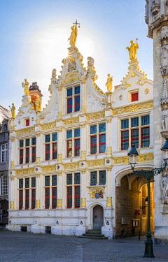 BEL1681AW Belgium, West Flanders (Vlaanderen), Bruges (Brugge). Neoclassical facade of Brugse Vrije on Burg Square.