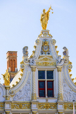 BEL1683AW Belgium, West Flanders (Vlaanderen), Bruges (Brugge). Neoclassical facade of Brugse Vrije on Burg Square.