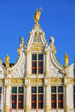 BEL1759AWRF Belgium, West Flanders (Vlaanderen), Bruges (Brugge). Neoclassical facade of Brugse Vrije on Burg Square.
