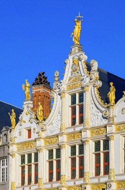 BEL1767AWRF Belgium, West Flanders (Vlaanderen), Bruges (Brugge). Neoclassical facade of Brugse Vrije on Burg Square.