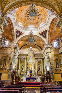 MEX1783AW Interior of the San Roque Temple in the historic center of Guanajuato, Mexico