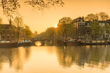 NLD0419AW Amstel River at dawn, Amsterdam, Netherlands