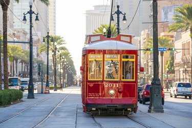 USA12686AW United States, Louisiana, New Orleans. Canal Street streetcar line in the French Quarter.