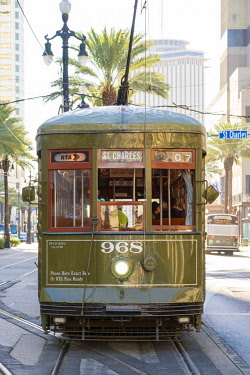 USA12691AW United States, Louisiana, New Orleans. St. Charles streetcar line on Canal Street in the French Quarter.