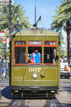 USA12692AW United States, Louisiana, New Orleans. St. Charles streetcar line on Canal Street in the French Quarter.
