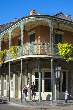 USA12694AW United States, Louisiana, New Orleans. French Quarter balconies on Chartres Street.