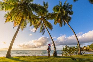 DMR0046AW Playa Moron, Las Terrenas, Samana Peninsula, Dominican Republic. Woman admiring the sunset on a palm-fringed meadow (MR).