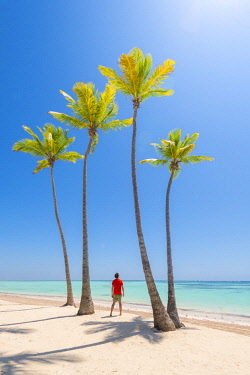Juanillo Beach (playa Juanillo), Punta Cana, Dominican Republic. Man enjoying the view on the shore of a palm-fringed beach (MR). © AWL Images
