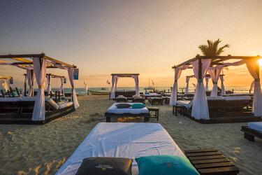 DMR0083AW Bavaro Beach, Bavaro, Higuey, Punta Cana, Dominican Republic. Beach beds.