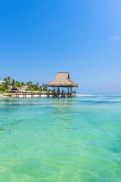 DMR0150AWRF Playa Blanca, Punta Cana, Dominican Republic, Caribbean Sea. Thatched hut on the beach.