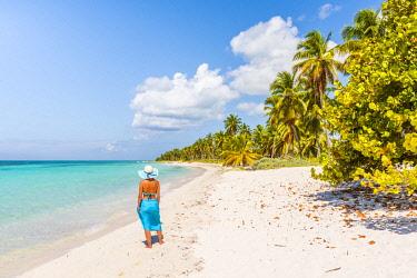 DMR0164AWRF Canto de la Playa, Saona Island, East National Park (Parque Nacional del Este), Dominican Republic, Caribbean Sea. Beautiful woman on a palm-fringed beach (MR).