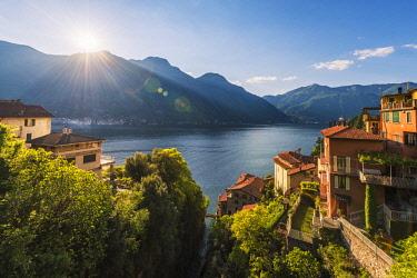 ITA10253AW Nesso, lake Como, Como province, Italy, Europe. High angle view over the roman stone bridge and the lake shore.