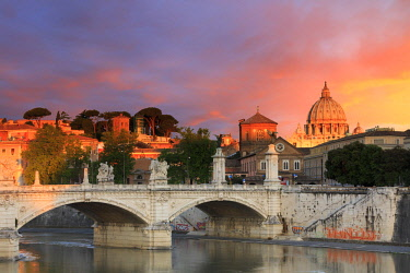 ITA10364AW Italy, Rome, St. Peter Basilica at sunrise reflecting on Tevere river