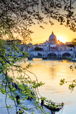 ITA10415AW Italy, Rome, St. Peter Basilica at sunset reflecting on Tevere river