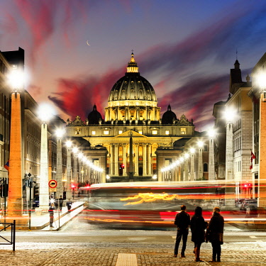 ITA10418AW Italy, Rome, St. Peter Basilica by night