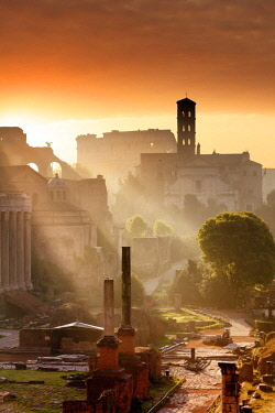 ITA10503AW Italy, Rome, Colosseum and Roman Forum at sunrise