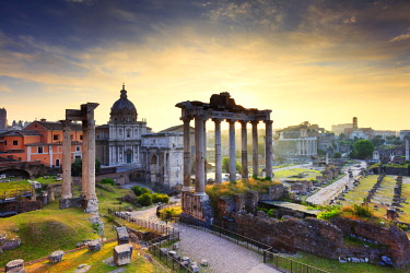 ITA10552AWRF Italy, Rome, Colosseum and Roman Forum at sunrise