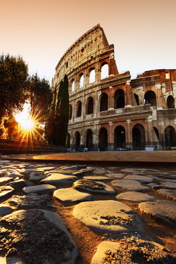 ITA10601AW Italy, Rome, Colosseum and Roman Forum at sunrise