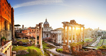 ITA10610AW Italy, Rome, Colosseum and Roman Forum at sunrise